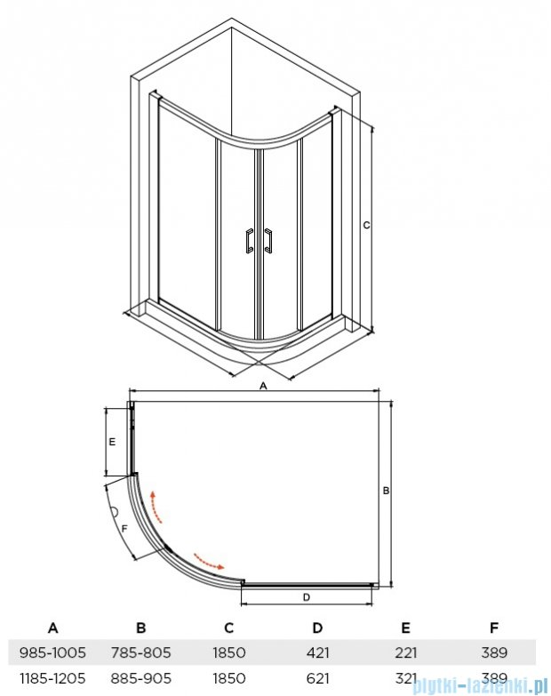 Besco Modern kabina asymetryczna 120x90x185cm przejrzyste MA-120-90-C