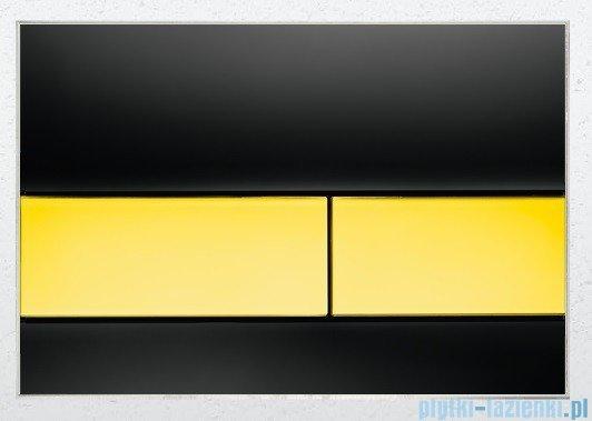 Tece Przycisk spłukujący ze szkła do WC Tecesquare szkło czarne przyciski złote 9.240.808