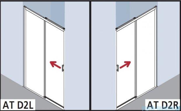 Kermi Atea Drzwi przesuwne bez progu, prawe, szkło przezroczyste KermiClean, profile białe 110x185 ATD2R110182PK