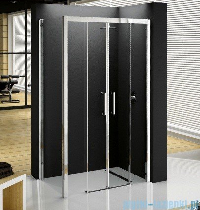 Novellini Elysium Kuadra 2A Podwójne drzwi przesuwne 132cm szkło przejrzyste profil chrom KUAD2A132-1K