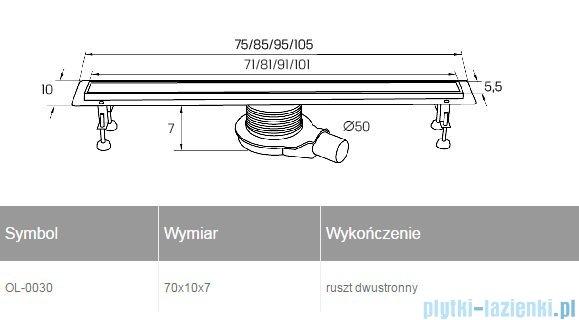 New Trendy Axo 70x10x7 cm odpływ liniowy z rusztem dwustronnym OL-0030