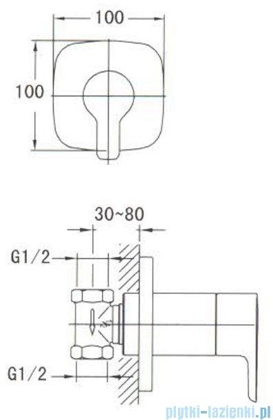 Omnires Hudson zawór podtynkowy 1-wyjściowy chrom HS4160