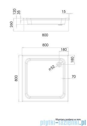Schedpol Grawello Brodzik kwadratowy 80x80x26cm 3.011
