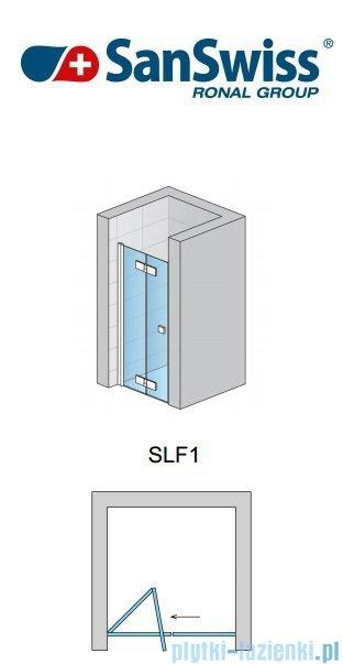 SanSwiss Swing Line F SLF1 Drzwi dwucześciowe 90cm profil połysk Lewe SLF1G09005007