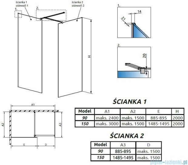 Radaway Modo New III kabina Walk-in 150x90x200 szkło przejrzyste 389154-01-01/389094-01-01/389000-01