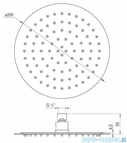 Deante Floks głowica natryskowa okrągła 25 cm chrom NAC 000K