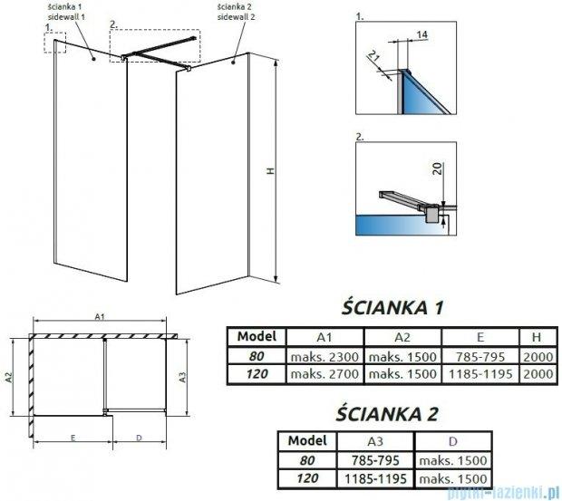 Radaway Modo New III kabina Walk-in 120x80x200 szkło przejrzyste 389124-01-01/389084-01-01/389000-01