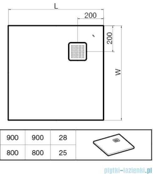 Roca Terran 90x90cm brodzik kwadratowy konglomeratowy szary cementowy AP0338438401300