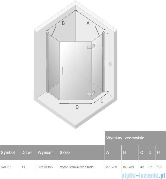 New Trendy New Azura kabina pięciokątna 90x90x195 cm przejrzyste prawa K-0338