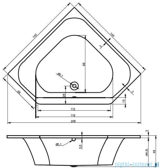 Riho Austin Wanna symetryczna 145x145 + nóżki + syfon BA11/07/AMC55