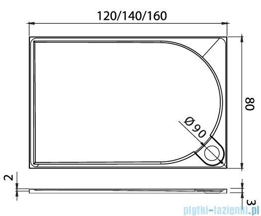 New Trendy Fluo brodzik prostokątny z konglomeratu 120x80x3 cm B-0354