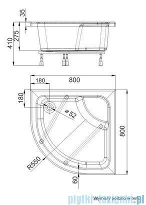 Schedpol Brodzik półokrągły z siedziskiem Doris 80x80x28cm 3.222