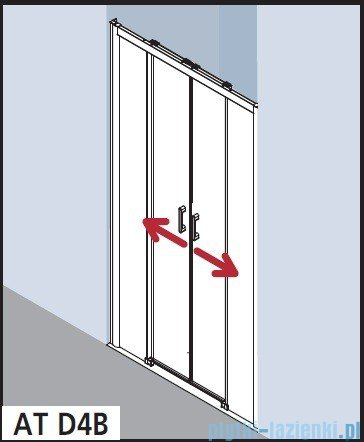 Kermi Atea Drzwi przesuwne bez progu, 4-częściowe, szkło przezroczyste z KermiClean, profile srebrne 140x200 ATD4B14020VPK
