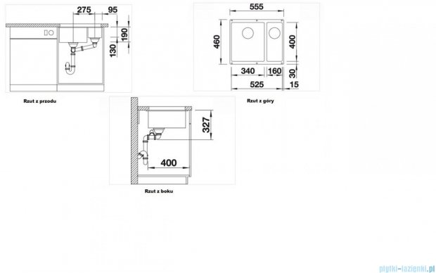 Blanco Subline 340/160-U zlewozmywak Silgranit PuraDur  kolor: jaśmin  z k. aut. 513791