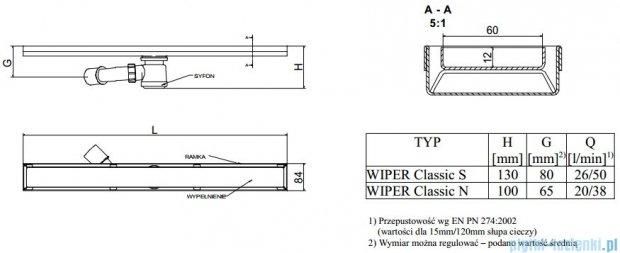 Wiper Odpływ liniowy Classic Pure 60cm bez kołnierza poler PU600PCS100