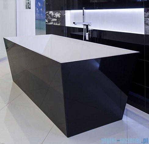 Omnires wanna 159x65cm wolnostojąca biało-czarny połysk MARBLE+LONDON159CP