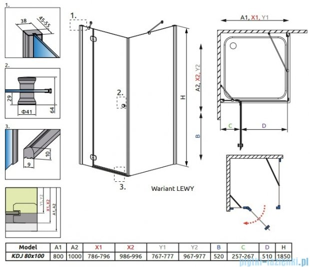 Radaway Torrenta Kdj Kabina prysznicowa 80x100 lewa szkło przejrzyste 32250-01-01NL