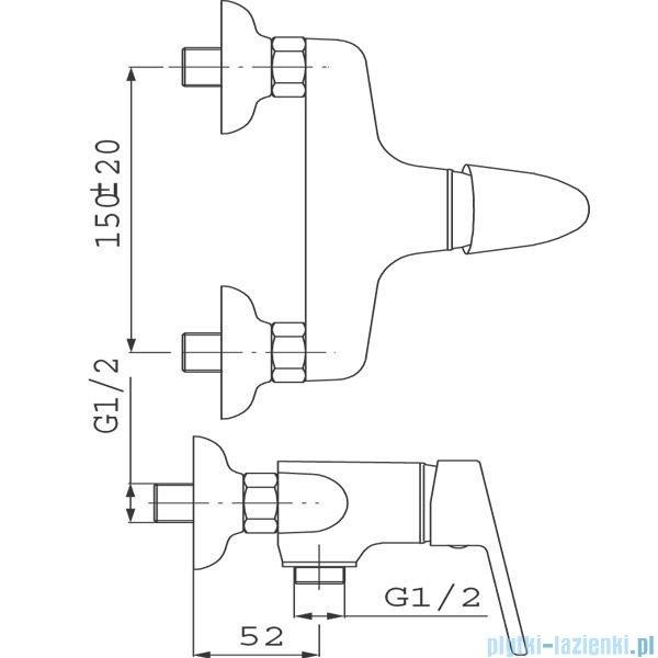 Ferro Bateria SMILE natryskowa ścienna z natryskiem BSM77