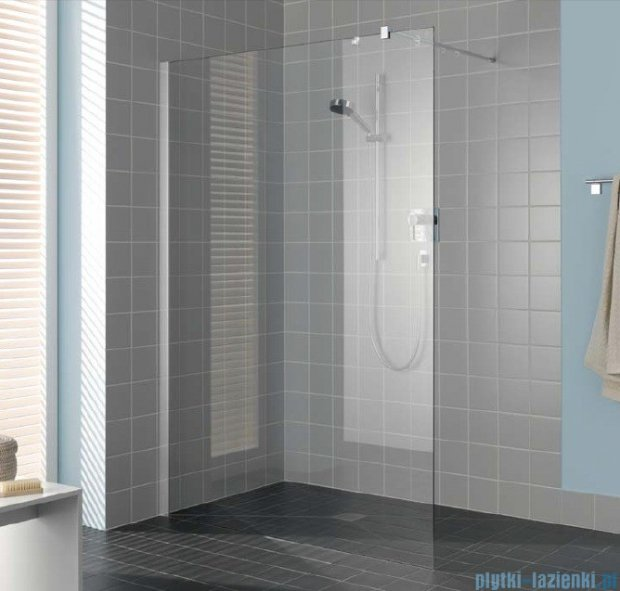 Kermi Filia Xp Ściana Walk-in Wall, stabilizator 90/ przezroczyste KermiClean, profile srebrne 75x200cm FXTWF07520VPK
