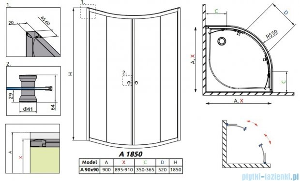 Radaway Classic A Kabina prysznicowa półokrągła z drzwiami przesuwnymi 90x90x185 szkło przejrzyste 30000-01-01
