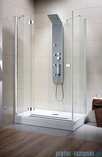 Radaway Kabina prysznicowa Fuenta KDJ 80x100 lewa szkło przejrzyste + Brodzik Argos D + syfon 381050-01L