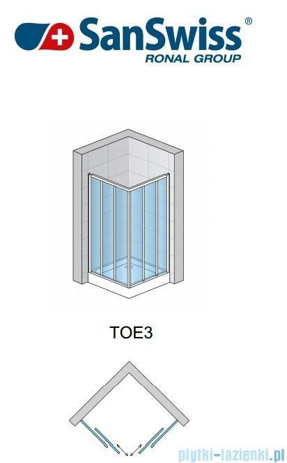 SanSwiss Top-Line TOE3 Wejście narożne 3-częściowe 75cm profil biały Lewe TOE3G07500407