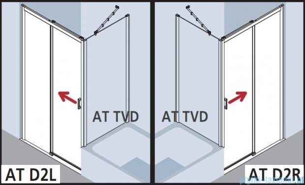Kermi Atea Drzwi przesuwne bez progu, lewe, szkło przezroczyste KermiClean, profile srebrne 100x185 ATD2L10018VPK