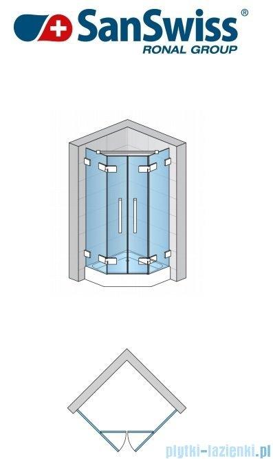 SanSwiss Pur PUR52 Drzwi 2-częściowe do kabiny 5-kątnej 45-100cm profil chrom szkło Krople PUR52SM11044