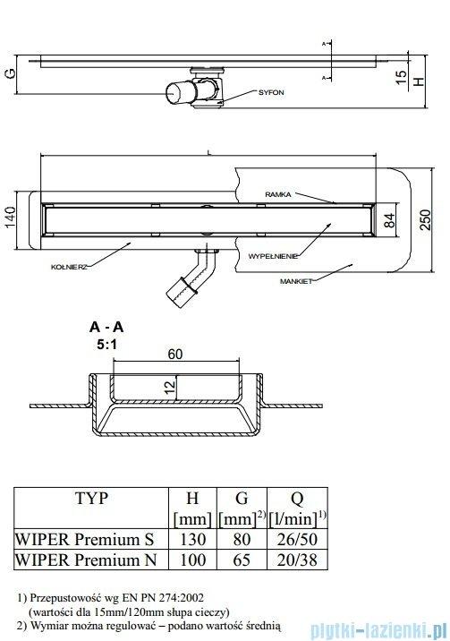 Wiper Odpływ liniowy Premium Tivano 80cm z kołnierzem mat T800MPS100