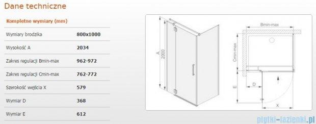 Sanplast kabina narożna prostokątna lewa przejrzysta KNDJ2L/AVIV-80x100 80x100x203 cm 600-084-0130-42-401