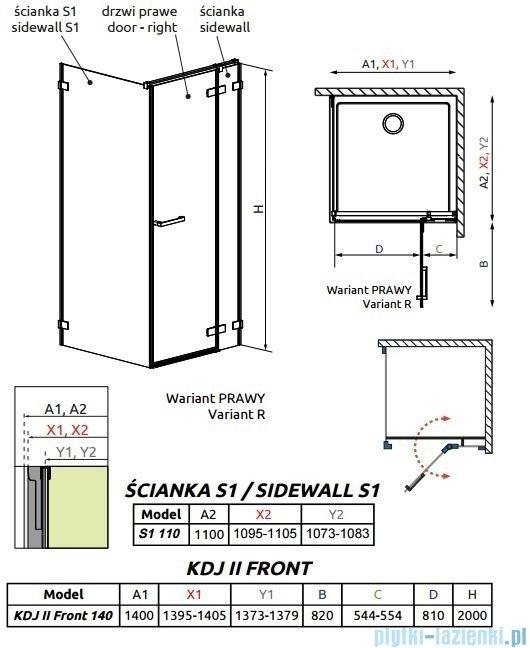 Radaway Arta Kdj II kabina 140x110cm prawa szkło przejrzyste 386457-03-01R/386046-03-01R/386023-03-01