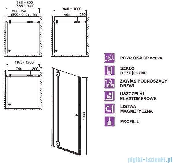 Aquaform Sol drzwi wnękowe De Luxe 90cm szkło przejrzyste lewe 06064