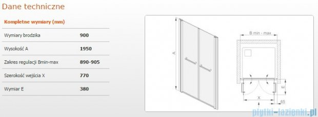 Sanplast drzwi skrzydłowe wahadłowe DD/PRIII 90x195 cm przejrzyste 600-073-0930-38-401