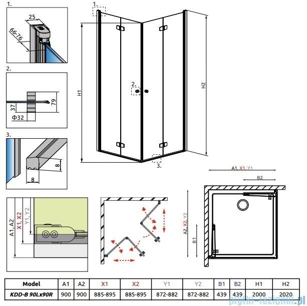 Radaway Fuenta New Kdd-B kabina 90x90cm szkło przejrzyste 384071-01-01L/384071-01-01R