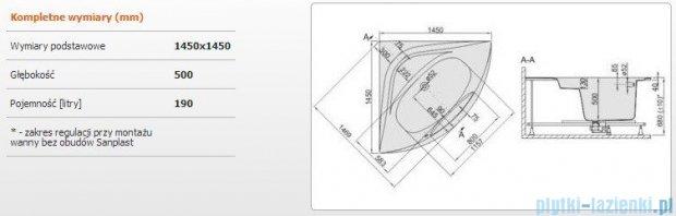 Sanplast Altus Wanna symetryczna+stelaż+obudowa WS-kpl-ALT/EX 145x145+SP, 610-120-0670-01-000