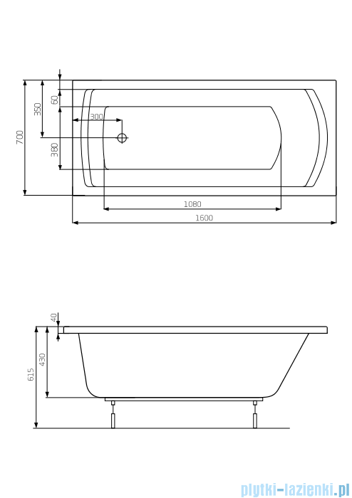 Roca Linea wanna 160x70cm z hydromasażem Smart Air Plus Opcja A24T020000