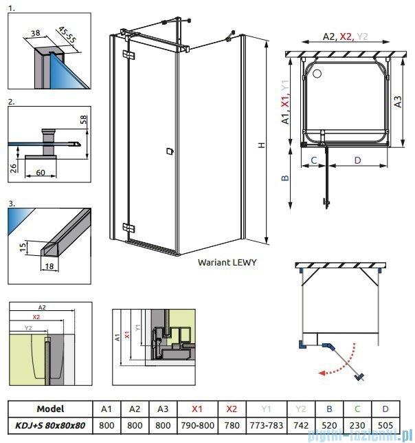 Radaway Kabina prysznicowa Almatea KDJ+S 80x80x80 lewa szkło przejrzyste + Brodzik Delos C + syfon 31532-01-01L