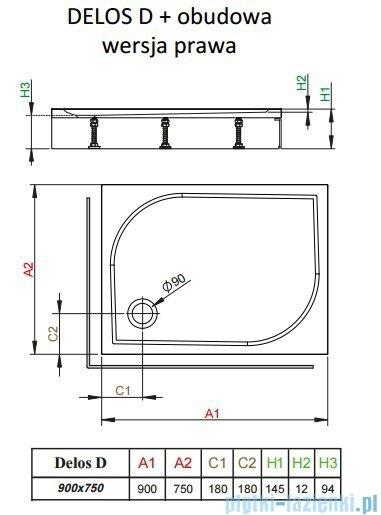 Radaway Brodzik prostokątny Delos D 90x75x14 cm z obudową prawy 4D97514-03R