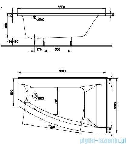 Koło Clarissa Wanna asymetryczna 160x100cm Prawa XWA0860