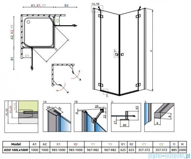 Radaway Essenza New Kdd kabina 100x100cm szkło przejrzyste 385062-01-01L/385062-01-01R