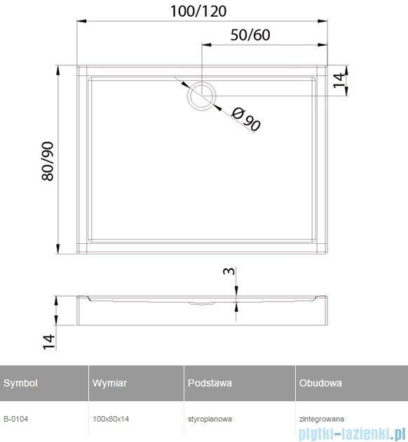 New Trendy Columbus brodzik prostokątny zintegrowany 100x80 B-0104