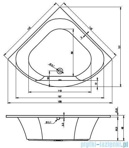 Riho Atlanta Wanna symetryczna 140x140 BB70