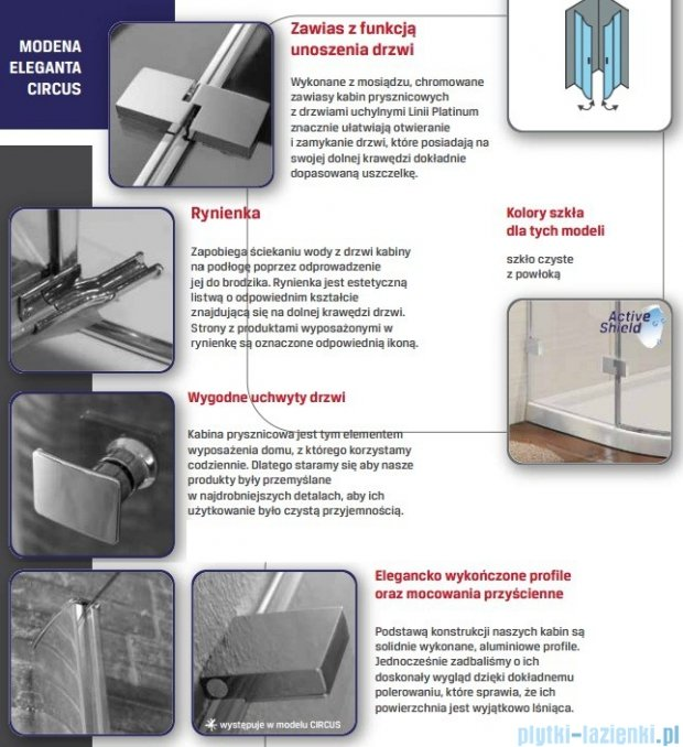 New Trendy Modena drzwi prysznicowe prawe 110 EXK-1020