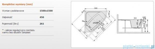 Sanplast Free Line Wanna symetryczna+stelaż WS/FREE 150x150+ST30, 610-040-0350-01-000