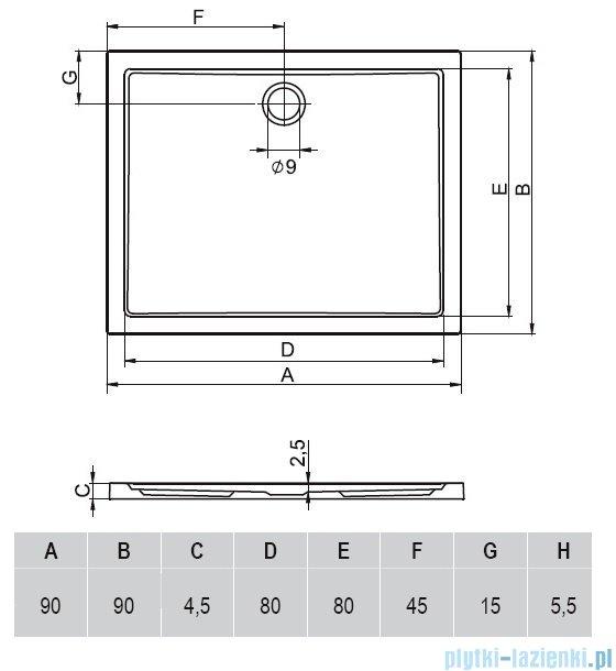 Riho Zurich brodzik kwadratowy płaski 250 90x90x4,5 DA58