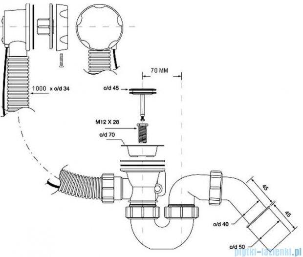 McAlpine syfon wannowy z korkiem automatycznym pokrywa satyna HC31M-S2-1M-SC
