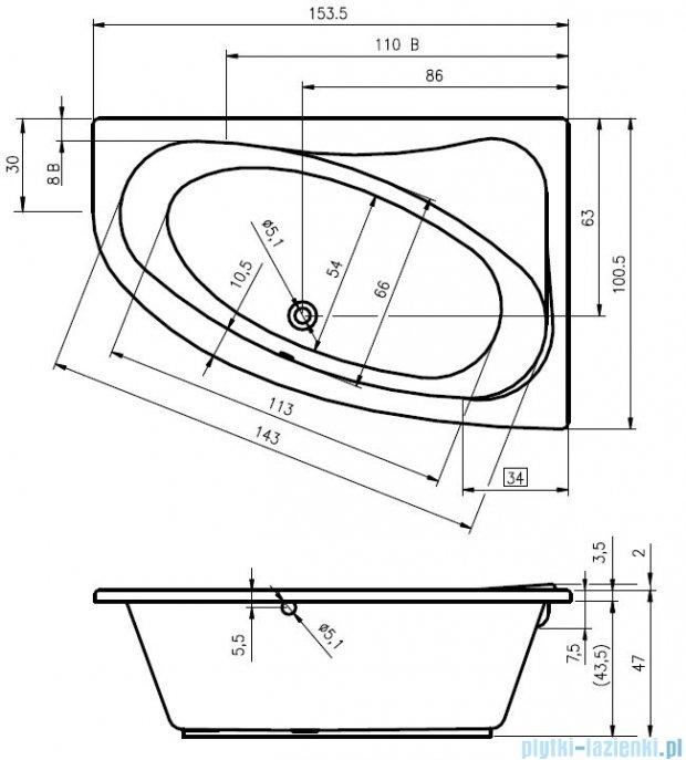 Riho Lyra wanna asymetryczna lewa 153x100 z hydromasażem TOP Hydro 6+4+2 BA68T2