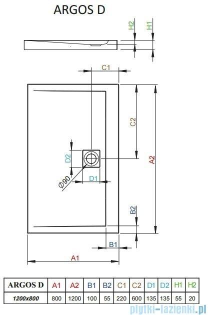 Radaway Brodzik prostokątny Argos D 120x80x5,5 cm 4AD812-01