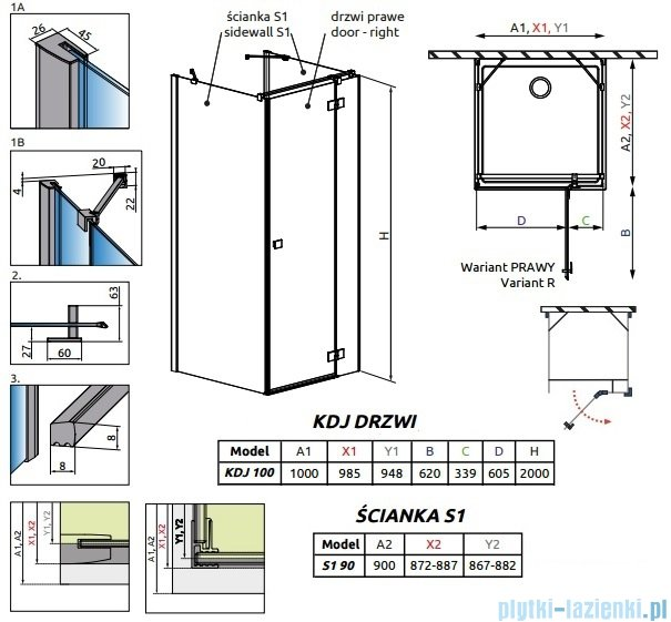 Radaway Essenza New Kdj+S kabina 90x100x90cm prawa szkło przejrzyste 385022-01-01R/384050-01-01/384050-01-01