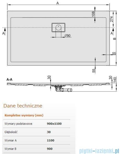 Sanplast Space Line brodzik prostokątny 110x90x3cm + syfon 615-110-0210-01-000